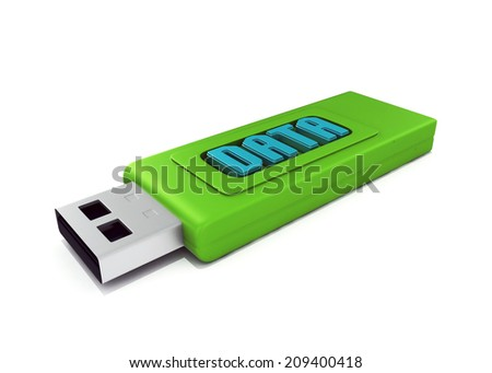 3d usb drive that contains data  - stock photo