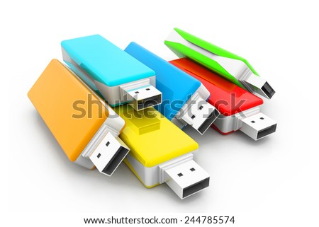 3d USB flash drives - stock photo