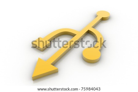 3D USB symbol on white background