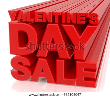 3D VALENTINE DAY SALE word on white background 3d rendering