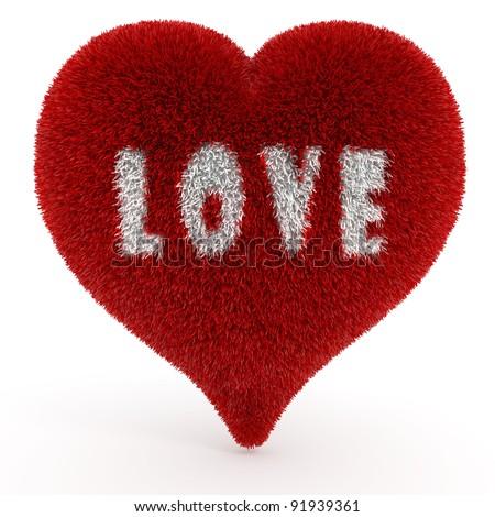 3d valentine heart, on white - stock photo