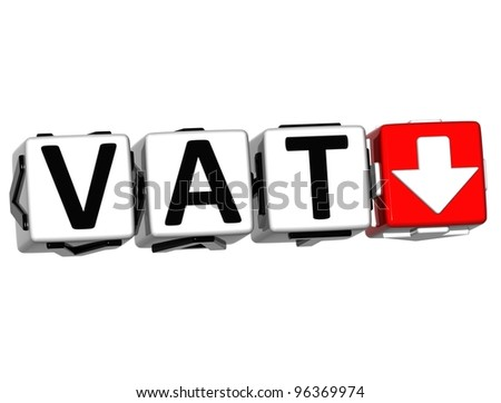 3D Vat button block cube text over white background - stock photo