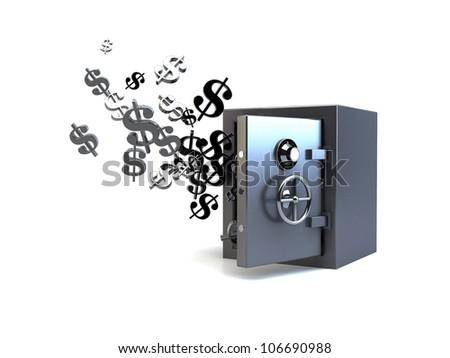 3D vault flying dollars - stock photo