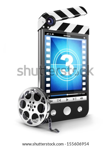 3d video smartphone concept, isolated white background, 3d image - stock photo