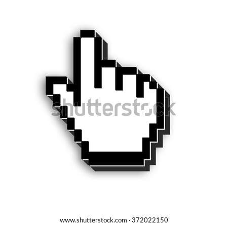 3d view of mouse pointer on isolated background