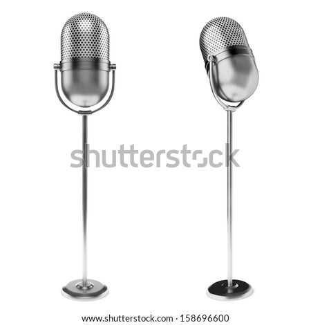 3d vintage microphone on white background - stock photo