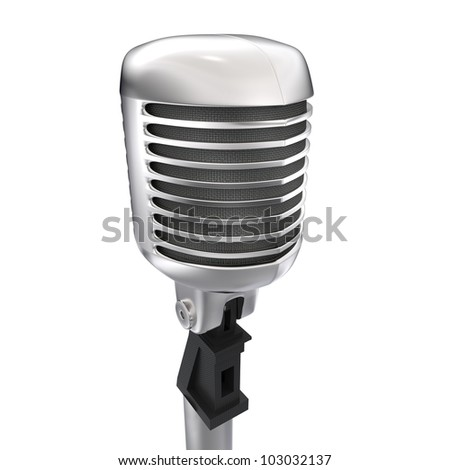 3d vintage microphone with stand on white background