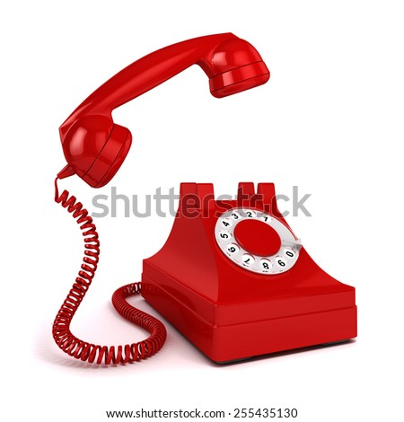 3d vintage red phone on white background - stock photo