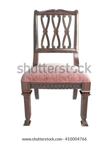 Gentil 3d Vintage Short Legs Chair Isolated On White