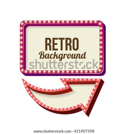 3d Vintage street sign. Retro banner with glowing lights. Volume symbol of the frame. Design element for your poster, advertising, text. Night sign with arrow. Frame, arrow icons. illustration - stock photo