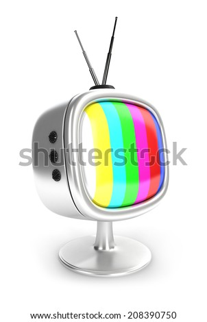 3d vintage television, isolated white background, 3d image - stock photo