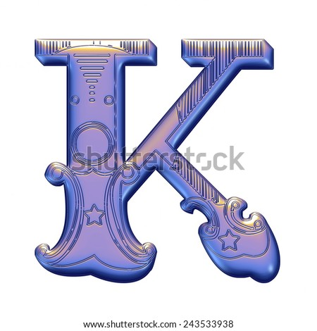 3D violet alphabets K on isolated white background. - stock photo