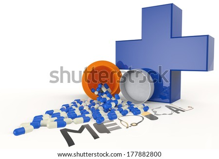 3d virtual medical symbol with capsule pills and text design MEDICAL as concept - stock photo