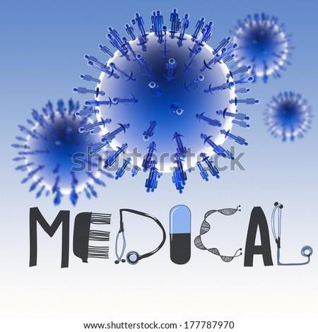 3d virtual virus symbol and text design MEDICAL as concept - stock photo