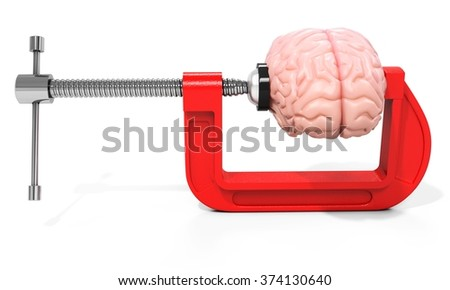 3d vise and brain,  stress concept on white background - stock photo