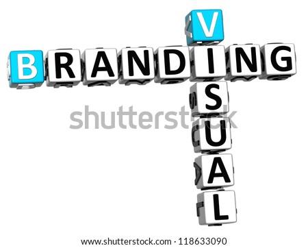 3D Visual Branding Crossword on white background - stock photo
