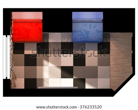 3D visualization of a child's room with the functional zoning. Room in red and blue color
