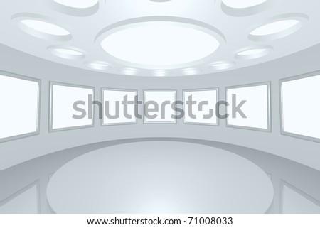 3D visualization of a modern futuristic interior picture gallery - stock photo