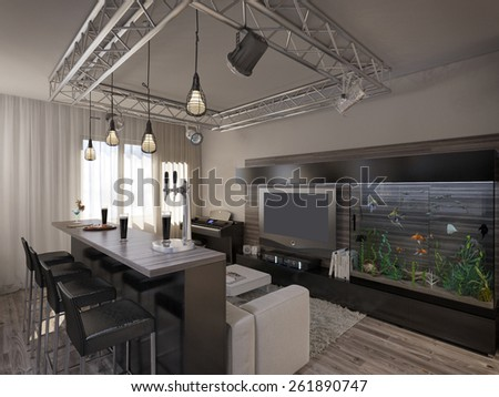3D visualization of a modern interior living room with kitchen