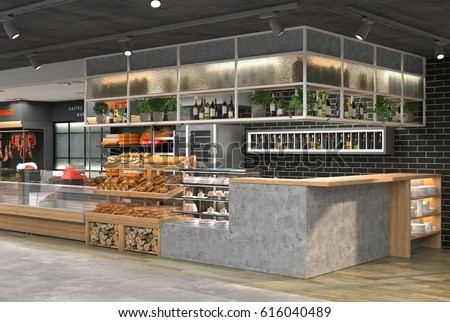 3d Visualization Interior Grocery Store Design Stock