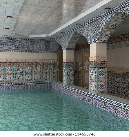 3D visualization of the interior space with a swimming pool in eastern style in a mosaic - stock photo
