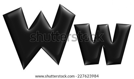 3D W alphabet with small later in black on isolated white background. - stock photo