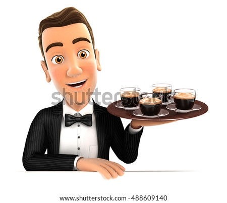 3d waiter holding four cups of coffee, illustration with isolated white background