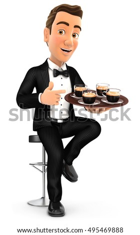 3d waiter sitting on bar chair with cups of coffee, illustration with isolated white background