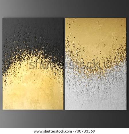 3 D Wall Art Paintings Gold Leaf Stock Illustration 700733569 ...