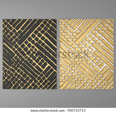 3 D Wall Art Paintings Gold Leaf Stock Illustration 700733713 ...