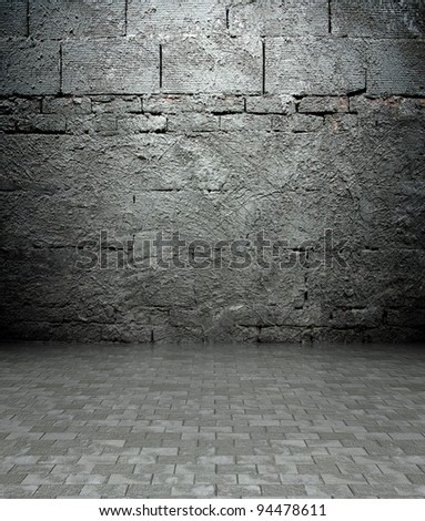 3d wall with brick texture in empty interior