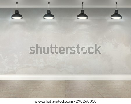 3d wallpaper room with ceiling lamps - stock photo