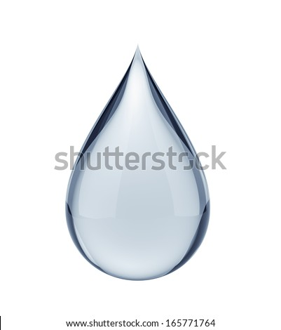 3D water drop on white isolated with clipping path - stock photo