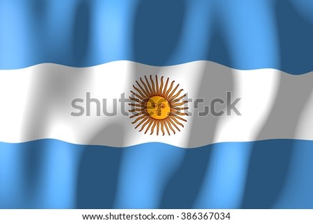 3D waving flag of Argentina. - stock photo