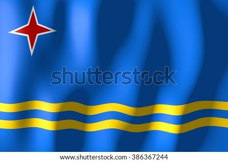 3D waving flag of Aruba. - stock photo
