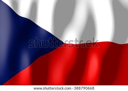3D waving flag of Czech Republic. - stock photo