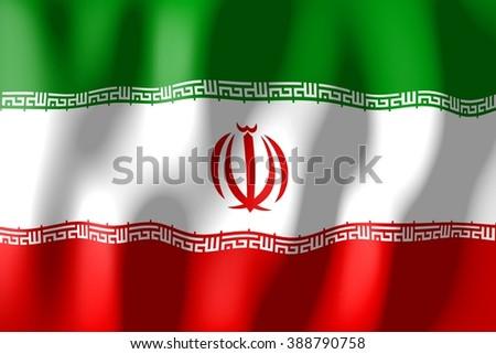 3D waving flag of Iran. - stock photo
