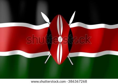 3D waving flag of Kenya. - stock photo