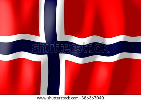 3D waving flag of Norway. - stock photo