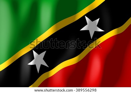 3D weaving flag - Saint Kitts and Nevis. - stock photo