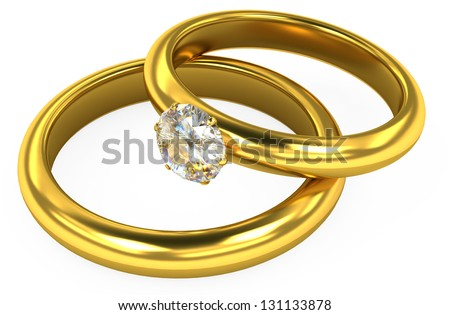3d wedding gold rings on white background - stock photo