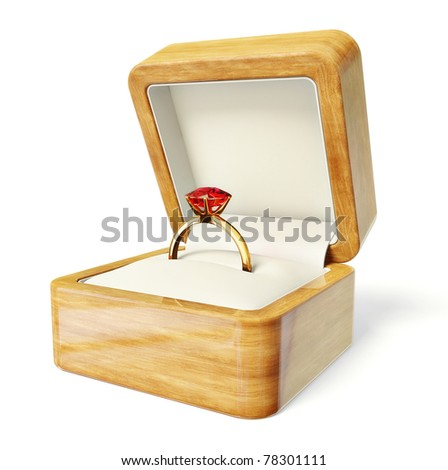 3d wedding ring  in a box  isolated on a white background - stock photo