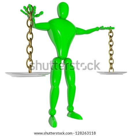 3d weigher concept balance isolated white - stock photo