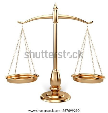 3D. Weight Scale, Scales of Justice, Law. - stock photo