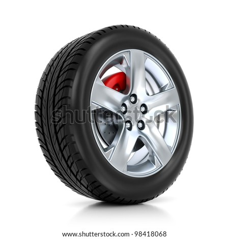 3d wheel isolated on mirror floor - stock photo