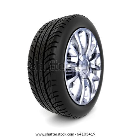 3d wheel isolated on white background - stock photo