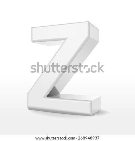 3d white alphabet Z isolated on white background