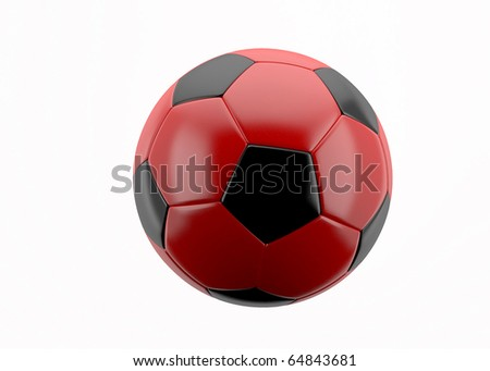 3d white and red leather soccer ball isolated on white background, for sport, recreation,football or soccer designs
