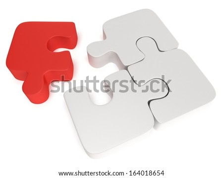 3d white and red puzzle on white background. Business, teamwork, assembling, last step concept.