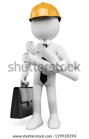 3d white architect with plans hard helmet and briefcase. 3d image. Isolated white background. - stock photo